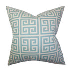 The Pillow Collection - Paros Greek Key Pillow Blue - Bring a cool texture to your living space by adding this plush decor pillow. A Greek Key pattern in a refreshing blue and white color palette is featured in this interesting throw pillow. It provides extra comfort to your sofa, bed or seat with its 100% plush cotton material. Pair this up with solids or other patterns from our wide selection of accent pillows. Hidden zipper closure for easy cover removal.  Knife edge finish on all four sides.  Reversible pillow with the same fabric on the back side.  Spot cleaning suggested.