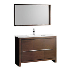 "Fresca Allier 48"" Wenge Brown Vanity w/ Mirror - Dimensions of vanity:  47.25""W x 18""D x 33.5""H. Dimensions of mirror:  47.25""W x 25.5""H x 6""D. Materials:  Plywood w/ veneer, ceramic countertop/sink with overflow. Single hole faucet mount. P-trap, faucet, pop-up drain and installation hardware included.  The Fresca 48"" Allier is a sleek, modern free standing vanity with plenty of storage space.  This model is accented nicely with a matching mirror with small shelf."