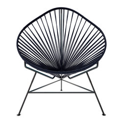 Acapulco Chair, Black Weave On Black Frame - The Acapulco Chair - contemporary lounge or occasional chair suitable for indoors and out.  Composed of a tripod metal base and seat woven with vinyl cord. The Acapulco chair is similar in construction and form to our Innit chair though slightly more reclined with a pear shaped frame.  The galvanized steel is rust resistant and the very durable yet flexible, UV protected vinyl will stay colorfast for years.  This chair is incredibly comfortable without a cushion.  Its weatherproof, breathable, easy to clean, and available in everybodys favorite color. *Please refer to swatch image for accurate product color variations.