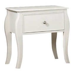 "Coaster - Night Stand (White) By Coaster - You'll be set with this nightstand in any child's bedroom. The piece carries a crisp white finish and features classic details like flared posts, simple curved molding and silver metal knobs. In addition, the one room is great for keeping books, games, alarm clocks and journals. Add a timeless style to your youthful bedroom decor with this attractive night stand. Features: White Finish Casual style Round silver metal knobs Flared posts and simple curved molding One Nightstand Dovetail Drawers Euro extension glides Specifications: Overall product dimensions: 23.75""W x 24.5""H x 16""D"