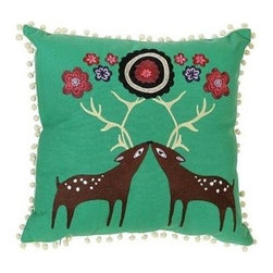 Crewel Deer Pillow - Take the boring out of your living room with our kissing deer pillow.  Embroidered and completed with pom pom edging, each pillow is handcrafted in a plethora of bold colors.