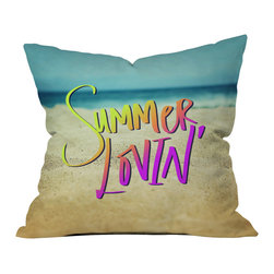 DENY Designs - Leah Flores Summer Lovin Beach  Throw Pillow - Wanna transform a serious room into a fun, inviting space? Looking to complete a room full of solids with a unique print? Need to add a pop of color to your dull, lackluster space? Accomplish all of the above with one simple, yet powerful home accessory we like to call the DENY throw pillow collection! Custom printed in the USA for every order.