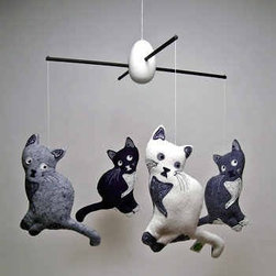 KLT Works Coy Kitties Mobile - Black and white works for the wee ones too. This kitty mobile is super cute and fun for a nursery or kids' playroom. I think this piece is perfectly playful, modern and whimsical.
