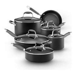"Anolon - Anolon Advanced - 11-Piece Set - This cookware set is an exceptional value, including all of the pans needed to equip your kitchen with the most used cooking pieces. It includes saucepans for whisking a homemade sauce or cooking your morning oatmeal, a big stockpot for soups, stews or boiling pasta, and skillets (probably the most used pan in any kitchen) that will help you turn out perfect crepes or a simple grilled cheese sandwich. The set also includes a saute pan, a wide, straight-sided pan that can perform many of the functions of a skillet but features deep sides for extra capacity, perfect for one dish meals. Start your dish in this pan by sauteing onions and browning meat, then add your liquid and other ingredients into the same pan to finish on the stovetop or in the oven. Includes: 1.5 Qt. and 3 Qt. Covered Saucepans, 8 Qt. Covered Stockpot, 8.5"" Skillet, 12"" Covered Deep Skillet, and 3 Qt. Covered Saute"