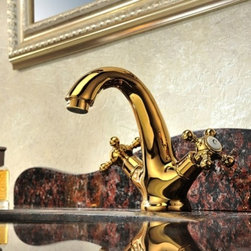 JollyHome - JollyHome Copper Bathroom Basin Faucets Dolphin Shape Golden - Vintage style with beautiful dolphin shape.Double handle deck mounted.Solid brass body with ceramic cartridge.Complete parts and all install fittings are included