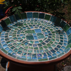 Sea Glass And Terra Cotta Bird Baths And Feeders By Necegirl - My son loves to watch birds bathe in our driveway's puddles, but this gorgeous bird bath is much more interesting. Who wouldn't want to splash around in something so pretty?
