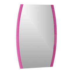 Decor Wonderland Mirrors - Decor Wonderland Paula's Pink Frameless Wall Mirror - A little feminine style goes a long way with Paula's Pink Frameless Wall Mirror. Featuring silk screened pink border on a solid frameless semi-oval mirror can work perfectly in a powder room or even a vanity in a bedroom.