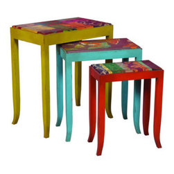 Caravan Nesting Tables - Signature Green Apple, Signature Vagabond Blue, and Signature Fusion Orange with hand-painted floral patchwork, stripes, and butterfly motif on set of three nesting tables.