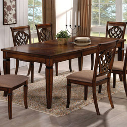 Coaster - 103391 Dining Table - This lovely rectangular dining table and chair set in oak features a smooth sleek top. Pair with the matching side chairs that feature cushion seating to create a warm and welcoming dining room set.