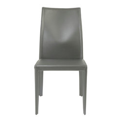 Eurostyle - Dafney Leather Chair - Gray - Satin finish regenerated leather covered seat, back and legs on steel frame