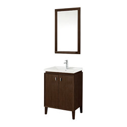 "Stufurhome - 24"" Colton Single Sink Vanity - Add stately refinement to a guest bath or lavette with the sleek 24 Statesman Single Sink Vanity. The rich, warm tone of the vanity contrasts beautifully with the ivory-white porcelain sink and makes a fine complement to any modern decor. Two large doors, each featuring simple yet sturdy hardware, conceal the ample storage space below.   Serves as a tasteful centerpiece for your bathroom"