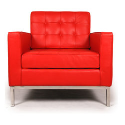 Kardiel Florence Knoll Style Arm Chair, Red Aniline Leather - The Florence Knoll Sofa, Chair and Loveseat is a design icon. The original design was conceived in 1956 by Florence Knoll, a world class architect and designer. It is a relatively simple design as it was originally meant to complement the classic innovations of Saarinen and Bertoia. The Knoll philosophy of furniture design solves practical and aesthetic design problems. The philosophy results in minimalist beauty, lasting durability and luxurious comfort in one complete package. It is well known that Knoll studied and collaborated with Mies Van Der Rohe. Knoll designed the classic trio using a durable stainless steel frame with minimal materials. Cubic cushions featuring compressed buttons in a purposeful and logical layout provide style and comfort to the supporting thin armed, minimalist frame. Do you notice the similarities in design philosophy to the Mies Van der Rohe's Barcelona Chair? The Knoll Sofa, Love and Chair is becoming even more popular as its minimalist yet functional de