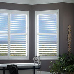Faux Wood Standard Folding Shutters - Faux Wood Standard Folding Shutters are the most popular style of plantation shutters. SelectBlinds' scratch proof, moisture proof shutter combines the durability of vinyl with the look and feel of a traditional wood shutter.