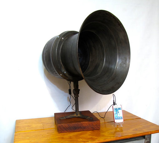 Vintage Loud Speaker Retrofitted for iPod, iPhone by Austin Modern - This fantastic WWII air-raid siren has been cleverly retrofitted as a loudspeaker for your stereo, computer or iPod. In a pinch you can use it to warn the neighboring villagers if your monster gets loose again too!