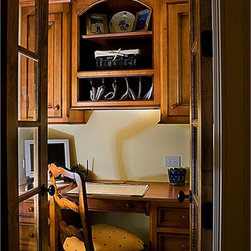 "Cover Photos - The hand built desk is built with solid wood construction with over-sized crown. Inset doors are 1-1/8"" thick with antique finishing on top of stain wood."