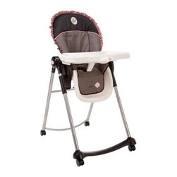 """Safety 1st - Safety 1st Adaptable High Chair - Ruffles - HC118ALL - Shop for Highchairs from Hayneedle.com! Crafted to grow with your child the Safety 1st Adaptable High Chair - Ruffles has three reclining positions each one suitable for either a newborn infant or toddler. The high chair also features six different height adjustments for your convenience as well as a machine-washable seat cushion and a dishwasher-safe tray which has a one-hand removal system. The SlideGuard post keeps your baby from slipping and the ultra-compact stand-alone frame is designed to fit most spaces.About Safety 1stSafety 1st attributes its success to a never-wavering commitment to child safety. Acquired by Dorel Industries in 2000 (makers of """"Baby on Board"""" signs) Safety 1st has been able to continue its dedication to making our world safer for children. For years parents have trusted Safety 1st and Dorel Industries to create products that are convenient durable safe and innovative. These companies specialize in making quality products at affordable prices and are proud to be showcased as a leader in their field."""