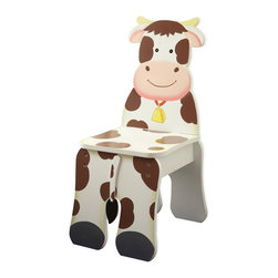 Teamson Design - Fantasy Fields Hand Painted Happy Farm Chair in Cow - Teamson Design - Kids Chairs - TD11324A2C - Graze greener pastures with Teamsons Farm Cow Chair. Chair is hand crafted and painted to resemble a cow. Your child will love sitting and relaxing on their very own cow chair. Chair is crafted to appear like your child is sitting right on the back of a cow! Made from quality wood and crafted with love this is a treasure that can be passed down for years to come.