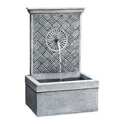 Campania - Solaris Garden Water Fountain, Copper Bronze - The charming Solaris Fountain is a lovely wall fountain that will create a wonderful accent for an empty garden wall or on your patio setting.  Water flows from the top of the fountain and into the rectangular basin below. This tranquil little piece is sure to add serenity and harmony to any garden setting, creating a fun focal point.