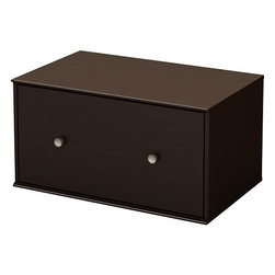 South Shore - South Shore Stor It Storage Drawer in Chocolate - South Shore - Storage Cabinets - 5059774 - This spacious storage drawer from the Stor It collection in Chocolate finish features closed space designed to maximize storage in all the rooms of your house. Its curved lines and minimalist design are typical of the transitional style that matches any decor so well. Match it up with other pieces from the Stor It collection to create your own storage solution. The drawer is equipped with full extension metal slides and satin nickel finish metal knobs.Features: