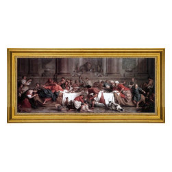 """Pierre Subleyras-14""""x28"""" Framed Canvas - 14"""" x 28"""" Pierre Subleyras Christ at the House of Simon the Pharisee framed premium canvas print reproduced to meet museum quality standards. Our museum quality canvas prints are produced using high-precision print technology for a more accurate reproduction printed on high quality canvas with fade-resistant, archival inks. Our progressive business model allows us to offer works of art to you at the best wholesale pricing, significantly less than art gallery prices, affordable to all. This artwork is hand stretched onto wooden stretcher bars, then mounted into our 3"""" wide gold finish frame with black panel by one of our expert framers. Our framed canvas print comes with hardware, ready to hang on your wall.  We present a comprehensive collection of exceptional canvas art reproductions by Pierre Subleyras."""