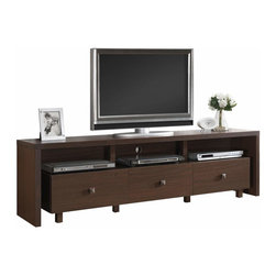 "Techni Mobili - Techni Mobili 70 Inch TV Stand w/ 3 Drawer in Hickory - 70 Inch TV Stand w/ 3 Drawer in Hickory by Techni Mobli This contemporary Techni Mobili TV cabinet, for TVs up to 70"", is designed to fit any bedroom or family room. It includes three drawers for optimal storage. The Techni Mobili TV cabinet is made of heavy duty compressed wood and laminate surface that is resistant to scratches.  TV stand with drawer also features addtional storage space for your electronics and gaming accessories.   Techni Mobili TV Cabinet: Contemporary styling 3 drawer for accessory storage, audio or gaming components Additional storage space Made of compressed wood with laminate surface Light chocolate finish Fits flat screen TVs up to 60"" (maximum weight: 130 lbs) 1-year limited warranty Assembly required Dimensions: 70.75""L x 15.5""W x 20""H  TV Stand (1)"