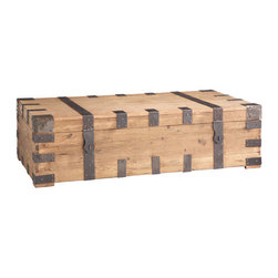 Well-Travelled Trunk Coffee Table - Reminiscent of an antique trunk, this one is made of rustic wood and dark iron hardware. A heavy and stately piece, this makes an interesting coffee table. You can even store stuff inside.