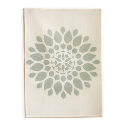 "Bambeco Brittany Linen Tea Towel in Mineral - Hand-printed with water-based inks on natural linen in the USA, the Brittany Tea Towel in Mineral is the perfect kitchen accomplice. The mineral-colored leafy mandala brings a sense of warmth and nature into your kitchen. The 100% linen fabric is sturdy, absorbent and becomes softer with each use. Use these towels to dry the dishes, cushion a bowl, protect your hands, wrap a gift or set a table. They're a natural, reusable and responsible alternative to paper.Linen may be one of the oldest textiles in the world, dating back to approximately 8,000BC; it is the strongest of the vegetable fibers, smooth and lint free. Linen is highly absorbent and easily dyed; the color will not fade with washings. Available colors: Mineral, Willow and Copper.Dimensions: 18""W x 26""H.Note: Limited Quantities Available."