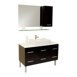 Fresca - Distante Modern Bathroom Vanity w Mirror & Side Cabinet (Tolerus Chrome) - Choose Included Faucet: Tolerus ChromeSoft Closing Drawers. Materials: Solid Oak Wood, Ceramic Sink, Marble Countertop. Glass Shelf. Single Hole Vessel Faucet Mount (Faucet Shown In Picture May No Longer Be Available So Please Check Compatible Faucet List). P-trap, Faucet, Pop-Up Drain and Installation Hardware Included. No overflow. Sink Color: White. Finish: Espresso. Sink Dimensions: 21.38 in. x13.63 in. x4.5 in. . Mirror: 31.5 in. W x 25.63 in. H. Dimensions of Side Cabinet: 11.75 in. W x 25.63 in. H x 6 in. D. Vanity: 43.38 in. W x 20 in. D x 33.5 in. HBeautifully understated with simple chic design. However it's the little details like cultured marble countertop (white) and a gently scalloped basin that complete this espresso finished vanity. Many storage drawers underneath make this vanity great for a larger bathroom and gives a great feeling of home with its dresser like appearance. Great for any decor, and for those looking to update their space with something simple, minimalistic yet dashingly handsome.
