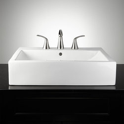Avalon Rectangular Vessel Sink - The Avalon Rectangular Vessel Sink offers a modern shape with a shallow, gently angled basin. Its large size provides both ample space and aesthetic beauty. Pair with your favorite widespread faucet to complete this stylish look.