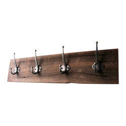"""Bluebirdheaven - Reclaimed Barn Wood Coat Rack, 24"""" (Four Hook) - This unique, reclaimed barn lumber coat rack is a great way to organize. Makes a wonderful entry way addition or a classic mudroom piece."""