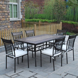 outdoor dining table chair set - Table: 160*90*H74cm        110/120KGs
