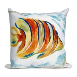 Angel Fish Pearl Pillow - The highly detailed painterly effect is achieved by Liora Manne's patented