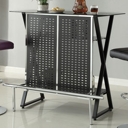 Coaster - Bar Table, Black - This stylishly modern bar table features two shelves on the back side, hidden by a black metal screen with chrome accents. A chrome footrest and black x supports also make this piece stand out. Pair this bar unit with any of our modern bar stools.