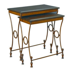 Hammary - Hammary T72744-00 Hidden Treasures Nesting Table w/ Leather tops - The Hidden Treasures collection is a fabulous assortment of one-of-a-kind accent pieces inspired by the greatest furniture designs from around the world. Each selection is a true treasure - rich in Old World icons and traditions. All the pieces in this collection are crafted with attention to every detail. From brass nailhead trim and exquisite hand-painting to elegant shaping and decorative trim  every item is a unique work of art. A wide variety of materials is used to create the perfect look and finest quality - from exotic woods  leather and stone to raffia and glass. The huge selection of finishes  hardware  exceptional carvings and other final touches offer unsurpassed versatility for any room in the home. Hidden Treasures includes cocktail tables  occasional and accent pieces  trunks  chests  consoles  wine racks  desks  entertainment units and interesting storage pieces. Place one in a comfortable reading nook... in the family room for flair and variety... in the foyer for a welcome look... in a bedroom for cozy style... or in the office for function and versatility. The pieces in this collection mix beautifully with any decorating style and will easily become the focal point in any setting.