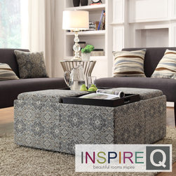Inspire Q - Inspire Q Avenue Medallion Floral Tray Top Storage Cocktail Ottoman - This Avenue Collection ottoman feature lids that come off to reveal spacious storage compartments and, for cocktail hour, the lids invert to form a four-section coffee table. This cocktail ottoman is the perfect accent piece to brighten any room.