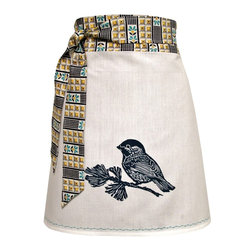 artgoodies - Organic Chickadee Apron - Each organic apron is hand printed with an original hand carved block print by Lisa Price. The band and ties are made of a coordinating vintage-style fabric and the embroidered accent at the bottom sets the fabric off just right! Dazzle your kitchen on any ordinary day or be the cutest hostess ever!