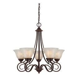 Quoizel - Quoizel LLN5005PN Lillian Chandelier - Graceful and welldesigned makes the Lillian collection a sure hit.  The lovely bell shades, painted in a stunning white flake finish, sit atop gentle curves finished in an opulent Palladian Bronze.
