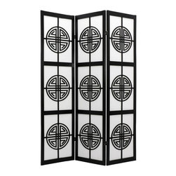 Oriental Unlimited - Long Life 72 Inch Room Divider - SSCLL-3_PANEL-BLACK - Shop for Room Dividers from Hayneedle.com! The Oriental Unlimited Long Life 72-Inch Room Divider attracts good health to the household with its unique and beautiful Shou (longevity) symbol lattice. This screen is so lovely it can be displayed simply as an art screen or it can serve its functional purpose to provide privacy and define space while adding to the sophistication of the room. The frame is crafted from durable lightweight Scandinavian spruce using Asian-style mortise-and-tenon joinery. The elegant shade is made from strong fiber-reinforced pressed-pulp rice paper which allows diffused light to shine through while providing complete privacy. Lacquered-brass two-way hinges mean you can bend the panels in either direction for versatility. Select from three fine wood finishes and 3- 4- 5- or 6-panel options. Each panel measures 17.5L x 0.75W x 72H inches.Sizes3 Panel - (Approximate) Overall Size Dimensions: 54.5W x .75D x 72H inches4 Panel - (Approximate) Overall Size Dimensions: 73W x .75D x 72H inches5 Panel - (Approximate) Overall Size Dimensions: 91.5W x .75D x 72H inches6 Panel - (Approximate) Overall Size Dimensions: 110W x .75D x 72H inchesIndividual panels are approximately 17.5 inches wide and 72 inches tall.About Oriental FurnitureWhat began in 1985 as a simple retail store in Natick Mass. has now blossomed into Oriental Furniture one of the largest online retailers of Asian furniture gifts and accessories. The company is always combing the globe for beautiful quality products and imports items directly from other countries in order to reduce costs for customers. With a wide variety of products available Oriental Furniture offers distinctive design solutions for the style-minded home decorator.