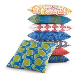 Grandin Road - Samira Pillow - Throw pillow covered in your choice of eight vivid cotton prints. Hidden zipper. Polyfill insert included. Coordinates perfectly with our Samira Ottoman. Wake up any room with our cheerful Samira throw pillow. With a vivid selection of cotton prints, you're sure to find a pattern or two to perk up your sofa or armchair.  .  .  .  . Imported.