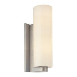 """Sonneman - Sonneman Century Tall Cylinder Wall Sconce - The Century Tall Cylinder Wall Sconce Wall  Sconce by Sonneman has been designed by Robert Sonneman. Centuryevokes the era of white-gloved travel and the modern future. A white glass illuminated cylinder is unified into a smoothly streamlined 20th century form, setting flush against a rounded-end satin nickel support. The design maximizes the shade's exposed surface area, increasing the  amount of light it diffuses while creating a select sophistication.  Product description:  The Century Tall Cylinder Wall Sconce Wall  Sconce by Sonneman has been designed by Robert Sonneman. Centuryevokes the era of white-gloved travel and the modern future. A white glass illuminated cylinder is unified into a smoothly streamlined 20th century form, setting flush against a rounded-end satin nickel support. The design maximizes the shade's exposed surface area, increasing the  amount of light it diffuses while creating a select sophistication.  Details:      Manufacturer:     Sonneman         Designer:    Robert Sonneman        Made in:    USA        Dimensions:     Shade:Diameter:4"""" (10.16 cm) X Height:12.5"""" (31.75 cm)    Wall Plate:Height:10"""" (15.24 cm) X Width:4.5"""" (11.43 cm)   Overall:Height:13.5"""" (34.29 cm) X Width:4.5"""" (11.43 cm)      Light bulb:     1 X A19 Medium Base Max 60W Incandescent (not included)         Material:     White Cased Glass"""