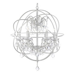 Foucault's White Wrought Iron Orb Crystal Chandelier - A great European tradition. Nothing is quite as elegant as the fine chandeliers that gave to beautiful evenings at palaces and manor houses across Europe. This beautiful chandelier from the Versailles Collection has 6 lights and is decorated and draped with crystal. The frame is Wrought Iron, adding the finishing touch to a wonderful fixture. The timeless elegance of this chandelier is sure to lend a special atmosphere anywhere it's placed!
