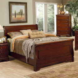 "Coaster - Versailles Eastern King Size Bed - The Versailles collection features doves tailing with sturdy wood on wood center drawer glides and solid wood side and back drawer construction. The five-drawer chest features a lip top conceal felt top jewelry area and is finished in deep mahogany stain.; Traditional Style; Versailles Collection; Mahogany finish; Some assembly required.; Dimensions: 87.75""L x 80""W x 51.25""H"
