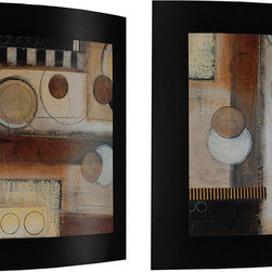 Paragon Decor - Rush Hour - Convex Set of 2 - Contemporary images are stacked on black painted convex board.