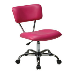 """Avenue Six - Vista Task Office Chair in Pink - Avenue Six Vista Task Office Chair in Pink; Vinyl padded seat and back; One touch pneumatic seat height adjustment; 360 degree swivel; Chrome finish frame and base; Dual wheel carpet casters for mobility; Greenguard: No; Weight Capacity: 200; Outer Materials: Vinyl / Chrome; Assembly required: Yes; Dimensions: 19.25""""W x 25.75""""D x 33""""H"""