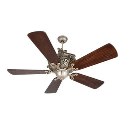 "Craftmade - Craftmade TO52AO Toscana 52"" Traditional Ceiling Fan - The Toscana fan features bold scrollwork enhanced by back-lit Antique Scavo body glass."