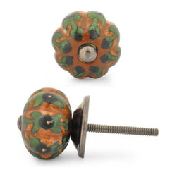"""Knobco - Melon Knob, Black Flowers And Leaf With Brown Big - Black Flowers and leaf with Brown Base Melon knob (BIG). Unique, hand painted cabinet knobs for your kitchen cabinets. 1.5"""" in    diameter. Includes screws for installation."""
