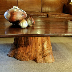 60nobscot Home - Coffee Table - Chilean Walnut, Coffee table supported by a hollowed out stump washed in a Pumpkin Color Milk Paint