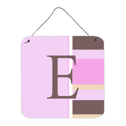 Caroline's Treasures - Letter E Initial Monogram - Pink Stripes Aluminium Metal Wall Or Door Print - Great for inside or outside these Aluminum prints will add a special touch to your kitchen, bath, front door, outdoor patio or any special place.  6 inches by 6 inches and full of color.  This item will take direct sun for a while before it starts to fade.  Rust and Fade resistant.  Aluminum Print with Hanging Rope.  Rounded Corners.