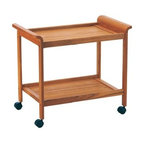 Tea Trolley / Serving Cart in Teak Wood - A functional cart on four castors to make serving easy and stylish. Made from solid and veneered teak wood.