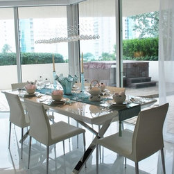 "Infinity Dining Table & Galiana Dining Chair - Infinity dining table / White glass top / Glossy White lacquer / Polished stainless steel legs. w.87"" d. 39"" h. 29.5"""